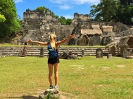 Andrea at the Tikal square