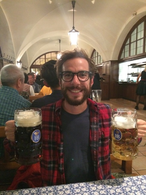 Man with two beers